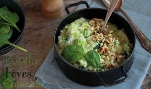 Risotto fèves épinards et pignons