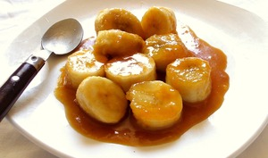 Banane poèlée facile et rapide au caramel beurre salé à l'orange