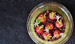Jardinière de radis, guacamole à l'ail des ours, terreau seigle/olives
