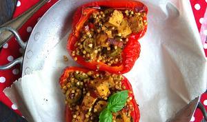 Poivrons farcis au sarrasin, tofu et tomates