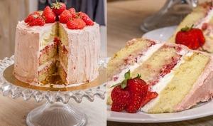 """Gâteau d'anniversaire """"layer cake"""" fraises et vanille"""