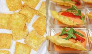 Tartinade de poivrons grillés et feta, crackers de pois chiches