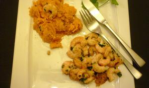 Crevettes au gingembre et coriandre et patates douces au gingembre