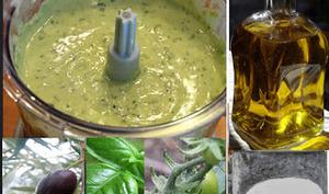 Sauce vinaigrette à la tomate verte et aux olives noires