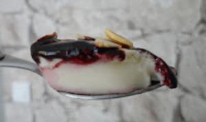 Blanc-manger au coulis de mûres