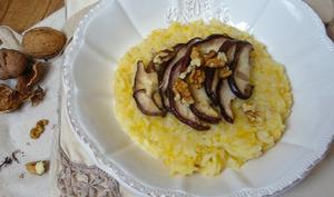 Purée de panais et potimarron au lucuma, cèpes poêlées et noix