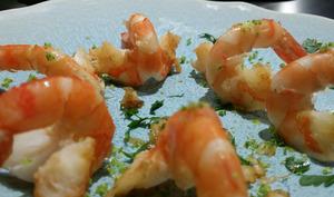 Crevettes au piment et yuzu.