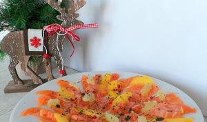 Carpaccio de saumon frais au citron vert et à la mangue