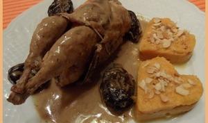 Cailles aux pruneaux et purée de patates douces