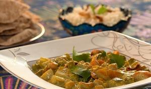 Korma de légumes et pain chapati
