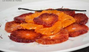 Carpaccio d'oranges sanguines et de clémentines, sirop au miel vanillé