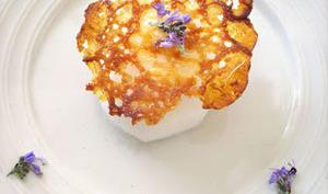 Sorbet fleur de romarin et tuile dentelle au citron de Menton