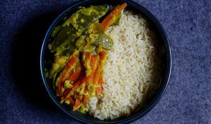 Légumes croquants sauce coco