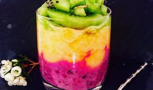 Pudding de chia bio aux fruits rouges, purée d'ananas et kiwi