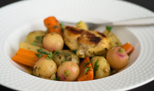 Tajine de poulet d'Alsace bio aux légumes de printemps