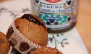 Muffins à la châtaigne et au miel, coeur de crème de marron etchocolat