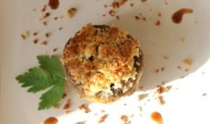 Champignons farcis aux Crevettes, Crumble Amande Curry