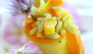 Roulé de courgettes jaunes au riz vert