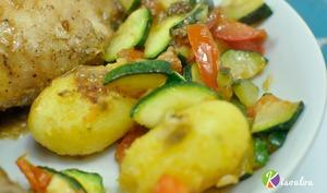 Poêlée de légumes pommes de terre courgette