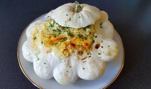 Pâtisson farci poulet, champignon et gratiné au Chaumes