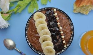 Porridge à l'avoine, banane et chocolat