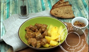Sauté de porc au miel et à la moutarde