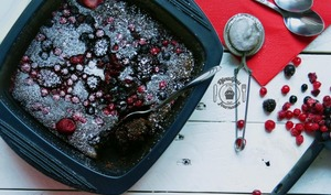 Fondant chocolat en papillote, aux fruits rouges