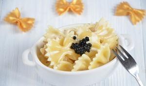 Farfalles crème citron vodka et caviar