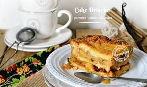 Cake brioché aux pommes, raisins et amandes