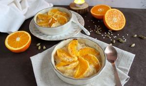 Riz au lait façon crème brulée, cardamome et orange