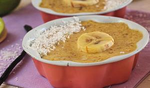 Flan banane, noix de coco aux épices