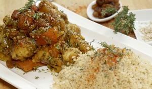 Tajine alcalin bio de 7 légumes et poulet mariné au citron.