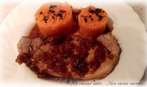 Rôti de porc à la bière & purée de carottes