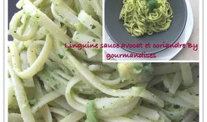 Linguines sauce avocat et coriandre