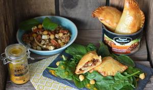Empanadas aux lentilles et pois chiches au curry