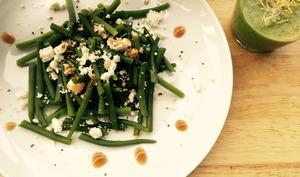 Gaspacho vert et salade de haricots, féta, vinaigrette au miel