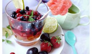 Minestrone de fruits rouges au sirop de verveine et citron vert