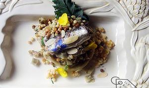 Artichaut, fregola sarda, sardine, combava, cambre maritime