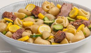 Salade de pâtes aux courgettes, petits pois et sots l'y laisse