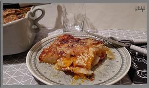 Gratin de potiron, pommes de terre, bacon et lardons