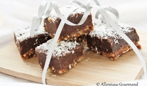 Carrés crus dattes-chocolat-kasha, bio