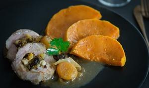 Rôti de veau farci au foie gras et fruits secs