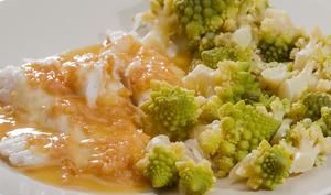 Merlu au beurre blanc et chou romaneco