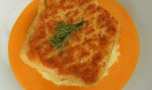 Pané de cabillaud et crème de poivron