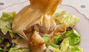 Aumonières de saint jacques en salade