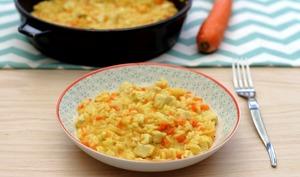 Risotto au poulet, carotte et curry