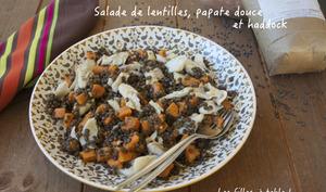 Salade de lentilles, patate douce et haddock