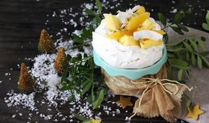 Pavlova vegan aux fruits d'hiver et à la chantilly de coco