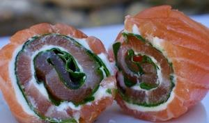 Roulés de saumon fumé
