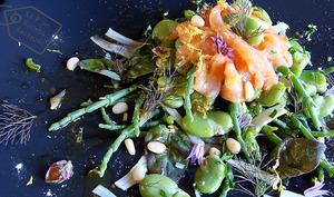 Saumon en carpaccio fèves des marais criste marine et arroche rouge en salade vinaigrette à la réglisse